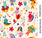 bunnies pattern - stock vector