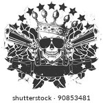 vector emblem with a skull and... | Shutterstock .eps vector #90853481