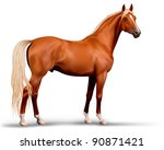 Stock vector vector beautiful realistic flaxen chestnut horse 90871421