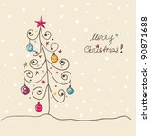Card with doodled Christmas tree  bright decorations - stock vector