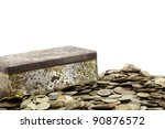 box with coins isolated on... | Shutterstock . vector #90876572