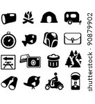 camping hiking icons | Shutterstock .eps vector #90879902