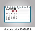calendar 2012 january | Shutterstock .eps vector #90890975