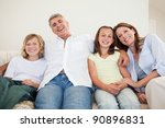 laughing family sitting on the... | Shutterstock . vector #90896831