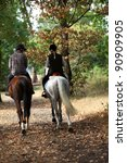 Stock photo a couple on a horse ride 90909905