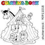 coloring book animals in tent   ... | Shutterstock .eps vector #90911018