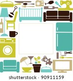 house set with furnitures and... | Shutterstock .eps vector #90911159