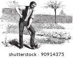 Man Working In Garden   Vintag...