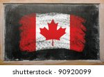 flag of Canada on blackboard painted with chalk - stock photo