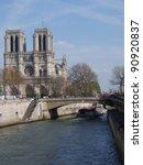 Notre Dame de Paris cathedral and La Seine, Paris, France - stock photo