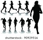 running silhouettes with... | Shutterstock .eps vector #90929516