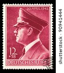 Small photo of GERMAN REICH - CIRCA 1942: A stamp printed in Germany shows image with portrait of Adolf Hitler, series, circa 1942