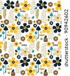 vector floral with bird | Shutterstock .eps vector #90942602