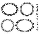 set frame oval lace black...   Shutterstock .eps vector #90944345