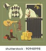 equestrian set  racehorse... | Shutterstock .eps vector #90948998