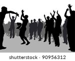 vector drawing crowds of... | Shutterstock .eps vector #90956312
