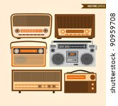 retro radios | Shutterstock .eps vector #90959708