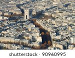 a view to the arc de triomphe... | Shutterstock . vector #90960995