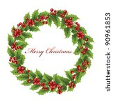 christmas holly wreath | Shutterstock .eps vector #90961853