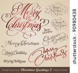 set of 9 hand lettered... | Shutterstock .eps vector #90980438