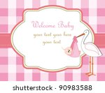 baby girl arrival announcement | Shutterstock .eps vector #90983588
