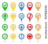 map markers with icons | Shutterstock . vector #90988340