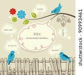 blue birds talking... | Shutterstock .eps vector #90993461