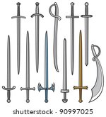 collection of swords and sabers  | Shutterstock .eps vector #90997025