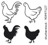rooster  cock  and chicken | Shutterstock .eps vector #90997127