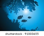oceanic corals and jambs of... | Shutterstock .eps vector #91003655