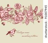 vintage roses seamless pattern | Shutterstock .eps vector #91007945