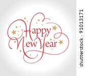 happy new year hand lettering ... | Shutterstock .eps vector #91013171