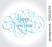 happy new year hand lettering ... | Shutterstock .eps vector #91013174