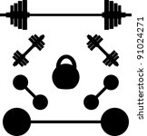 silhouettes of weights. vector... | Shutterstock .eps vector #91024271