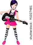cool rock star girl playing... | Shutterstock .eps vector #91027481