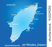 Island of Rhodes in Greece map on blue background - stock vector