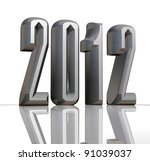 New year 2012 text with reflection on white background - stock photo