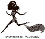 handdrawing silhouette of a... | Shutterstock .eps vector #91060802