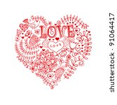 floral heart. heart made of... | Shutterstock .eps vector #91064417