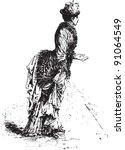 lady   vintage illustration... | Shutterstock .eps vector #91064549
