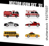 set of the car icons in vector. ... | Shutterstock .eps vector #91075037