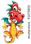 happy dragon on white background | Shutterstock .eps vector #91075853