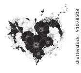 Abstract Floral Heart Black An...