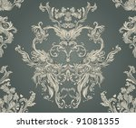 Stock vector seamless vintage background brown baroque pattern 91081355
