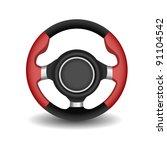 steering wheel on a white | Shutterstock .eps vector #91104542