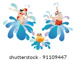little girl and  boy jumping... | Shutterstock .eps vector #91109447