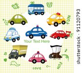 cartoon car card | Shutterstock .eps vector #91120793