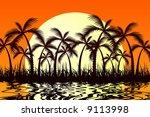 tropic sunset | Shutterstock .eps vector #9113998