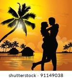 romantic couple on the beach