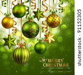 christmas background with green ... | Shutterstock .eps vector #91152305